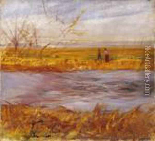 By The Brook Oil Painting - Laszlo Mednyanszky