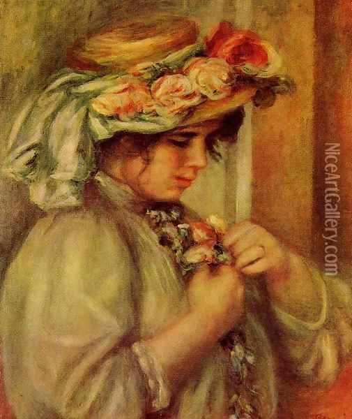 Young Girl In A Hat Oil Painting - Pierre Auguste Renoir