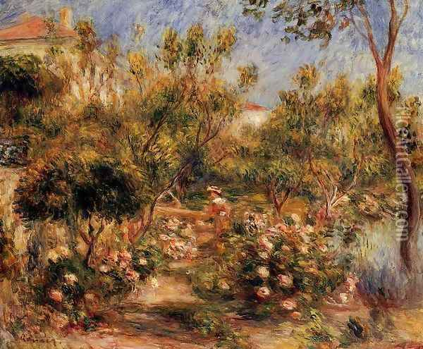 Young Woman In A Garden Cagnes Oil Painting - Pierre Auguste Renoir