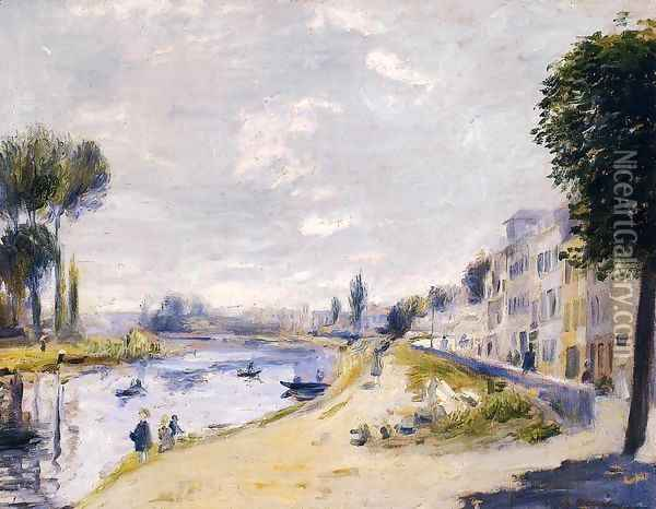 The Banks Of The Seine Bougival Oil Painting - Pierre Auguste Renoir