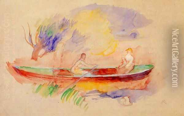Two Women In A Rowboat Oil Painting - Pierre Auguste Renoir