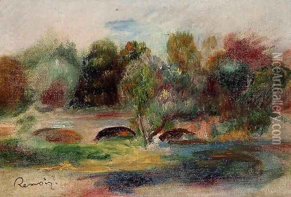Landscape With Bridge Oil Painting - Pierre Auguste Renoir