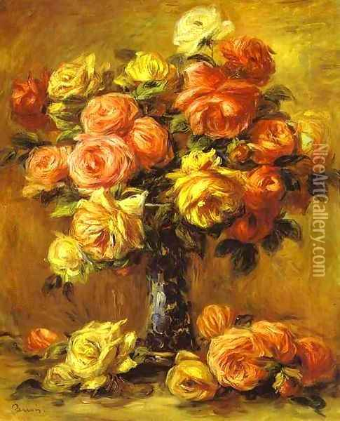 Roses in a Vase 3 Oil Painting - Pierre Auguste Renoir