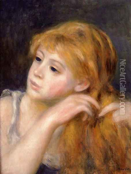 Head Of A Young Woman9 Oil Painting - Pierre Auguste Renoir