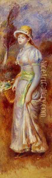 Woman With A Basket Of Flowers Oil Painting - Pierre Auguste Renoir