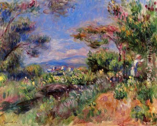 Young Woman In A Landscape Cagnes Oil Painting - Pierre Auguste Renoir