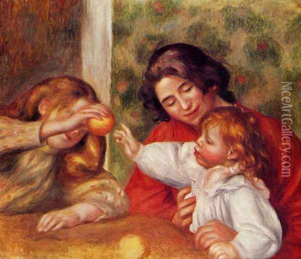 Gabrielle, Jean and a Little Girl Oil Painting - Pierre Auguste Renoir