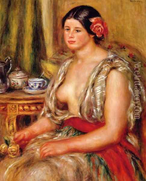 Young Woman Seated In An Oriental Costume Oil Painting - Pierre Auguste Renoir