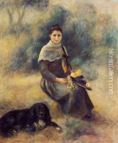 Young Girl With A Dog Oil Painting - Pierre Auguste Renoir