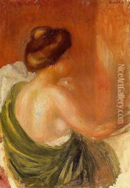 Seated Woman In A Green Robe Oil Painting - Pierre Auguste Renoir