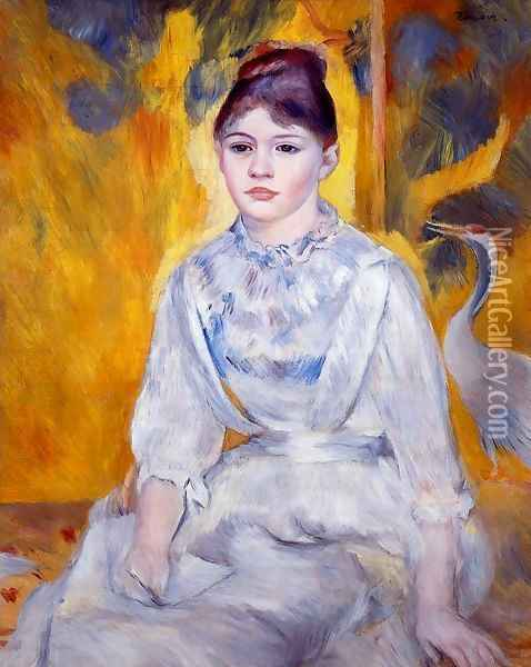 Young Woman With Crane Oil Painting - Pierre Auguste Renoir