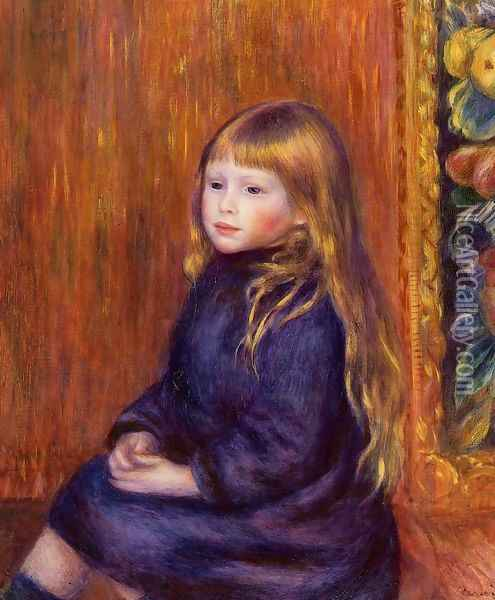 Seated Child In A Blue Dress Oil Painting - Pierre Auguste Renoir