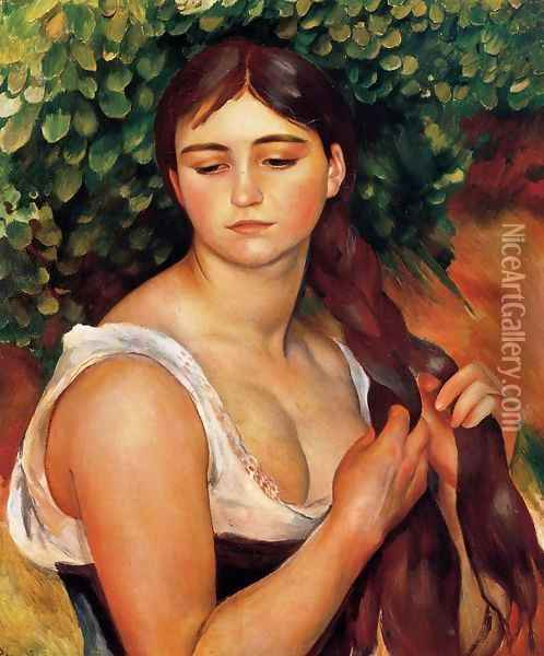 The Braid Aka Suzanne Valadon Oil Painting - Pierre Auguste Renoir