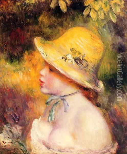 Young Girl In A Straw Hat2 Oil Painting - Pierre Auguste Renoir
