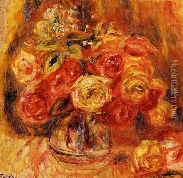 Roses In A Vase5 Oil Painting - Pierre Auguste Renoir