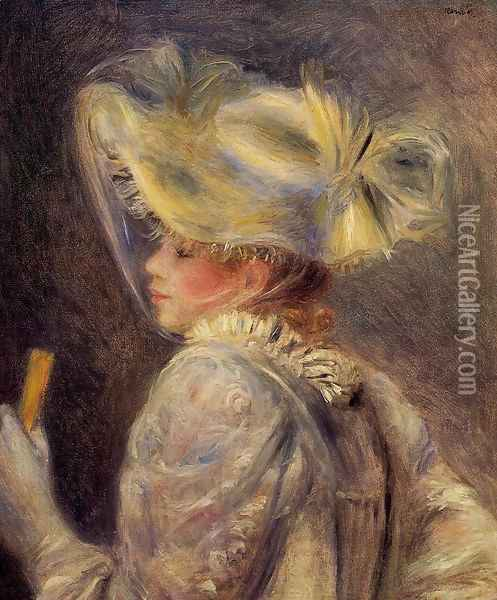 Woman In A White Hat Oil Painting - Pierre Auguste Renoir