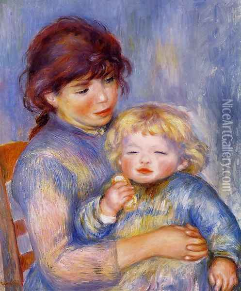 Motherhood Aka Child With A Biscuit Oil Painting - Pierre Auguste Renoir