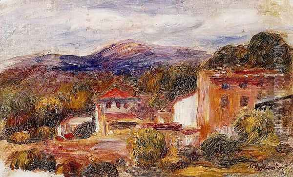 House And Trees With Foothills Oil Painting - Pierre Auguste Renoir