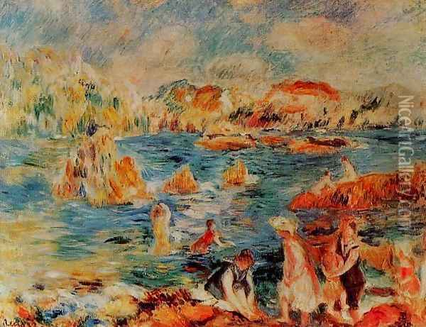 The Beach At Guernsey Oil Painting - Pierre Auguste Renoir