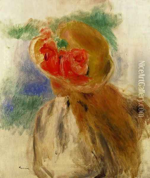 Young Girl In A Flowered Hat Oil Painting - Pierre Auguste Renoir