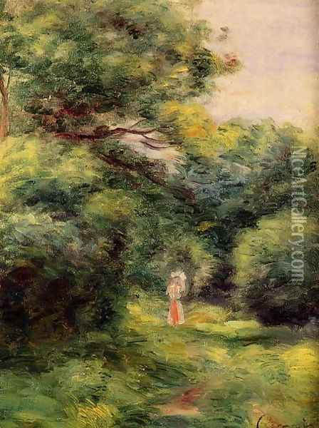 Lane In The Woods Woman With A Child In Her Arms Oil Painting - Pierre Auguste Renoir