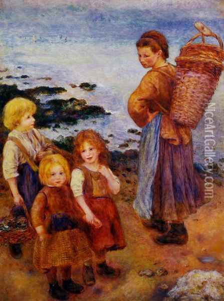 Mussel Fishers at Berneval Oil Painting - Pierre Auguste Renoir