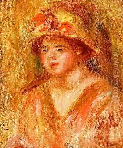 Bust Of A Young Girl In A Straw Hat Oil Painting - Pierre Auguste Renoir