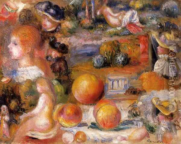 Studies Womans Heads Nudes Landscapes And Peaches Oil Painting - Pierre Auguste Renoir
