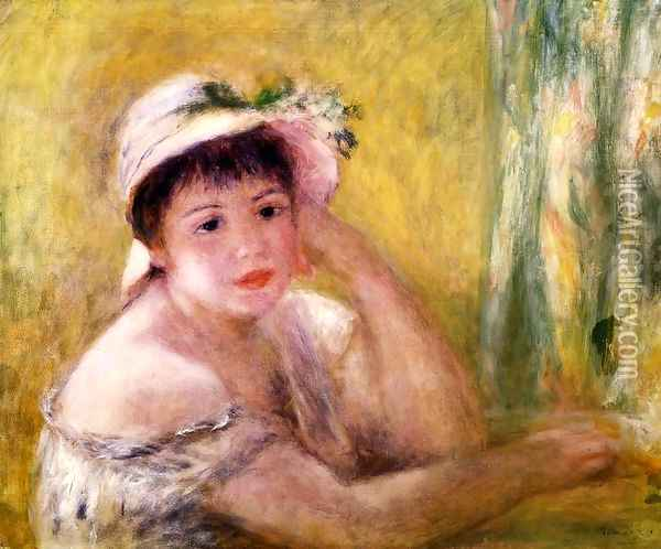 Woman With A Straw Hat Oil Painting - Pierre Auguste Renoir