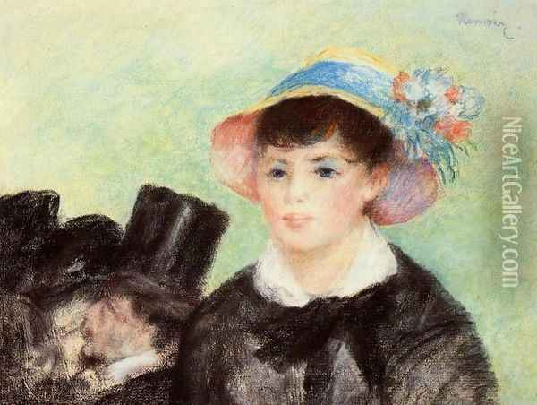 Young Woman in a Straw Hat Oil Painting - Pierre Auguste Renoir
