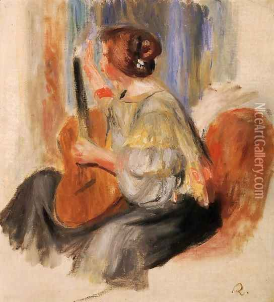 Woman With Guitar Oil Painting - Pierre Auguste Renoir