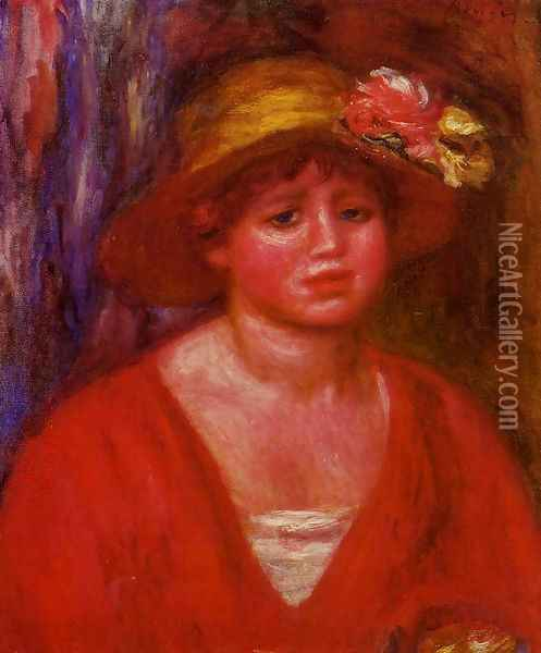 Bust Of A Young Woman In A Red Blouse Oil Painting - Pierre Auguste Renoir