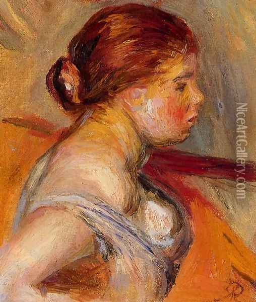 Head Of A Young Girl 4 Oil Painting - Pierre Auguste Renoir