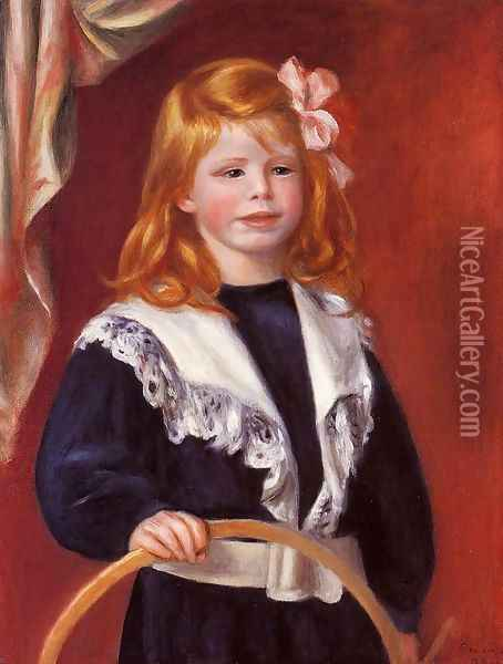 Portrait Of Jean Renoir Aka Child With A Hoop Oil Painting - Pierre Auguste Renoir