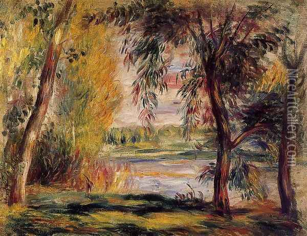 Trees By The Water Oil Painting - Pierre Auguste Renoir