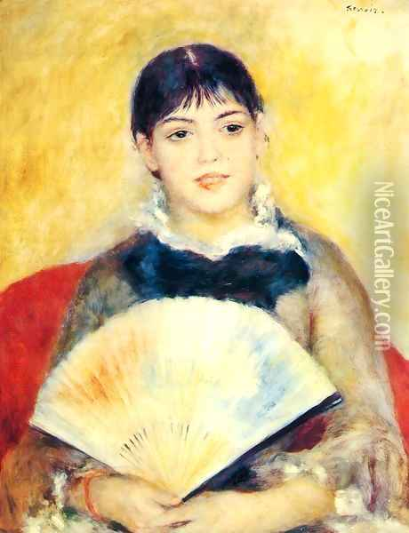 Woman With A Fan2 Oil Painting - Pierre Auguste Renoir