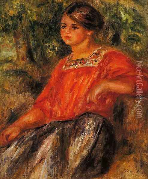 Gabrielle In The Garden At Cagnes Oil Painting - Pierre Auguste Renoir