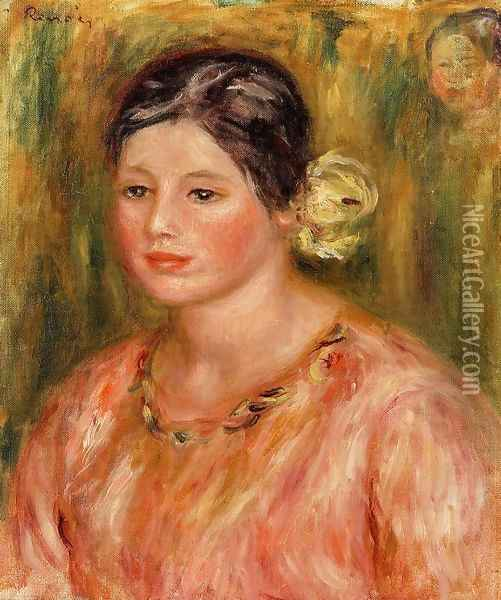 Head Of A Young Girl In Red Oil Painting - Pierre Auguste Renoir