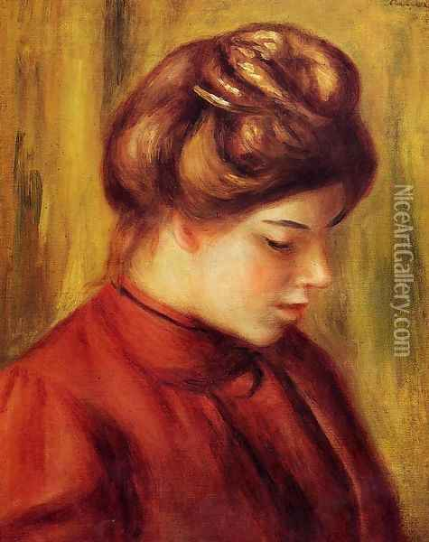 Profile Of A Woman In A Red Blouse Oil Painting - Pierre Auguste Renoir