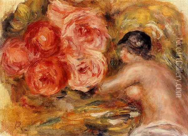 Roses And Study Of Gabrielle Oil Painting - Pierre Auguste Renoir