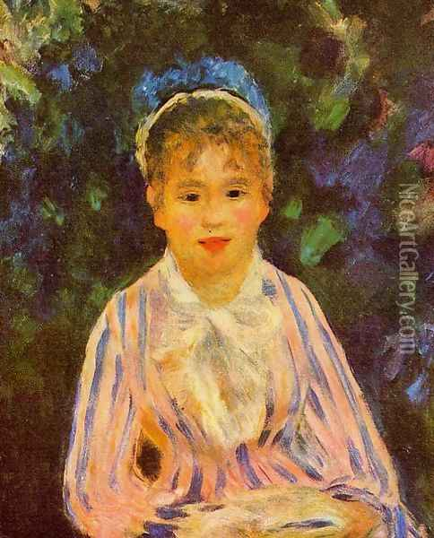 Young Woman In A Blue And Pink Striped Shirt Oil Painting - Pierre Auguste Renoir