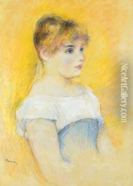 Young Girl In A Blue Corset Oil Painting - Pierre Auguste Renoir