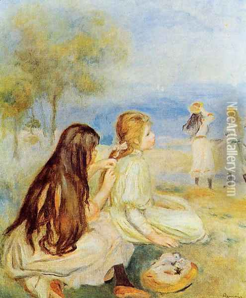 Young Girls By The Sea 2 Oil Painting - Pierre Auguste Renoir