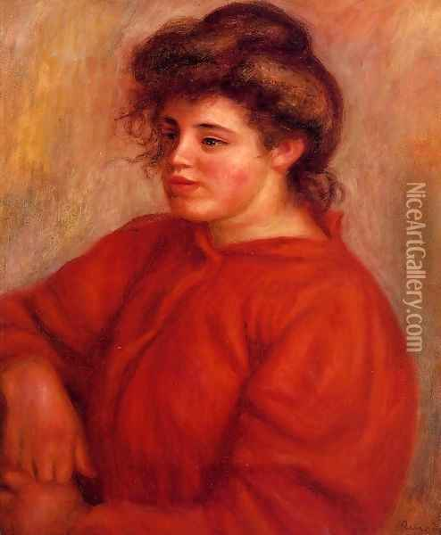 Woman In A Red Blouse Oil Painting - Pierre Auguste Renoir