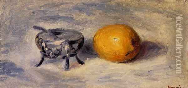 Sugar Bowl And Lemon Oil Painting - Pierre Auguste Renoir