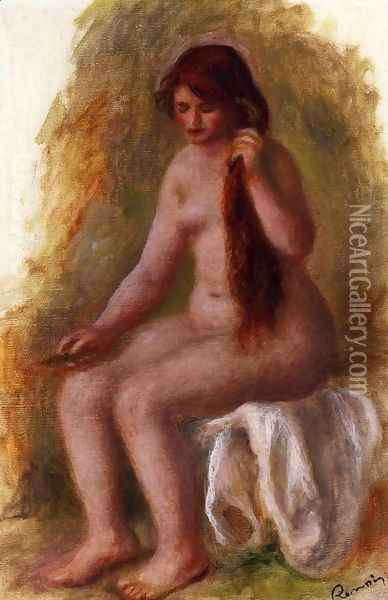 Seated Nude Combing Her Hair Oil Painting - Pierre Auguste Renoir
