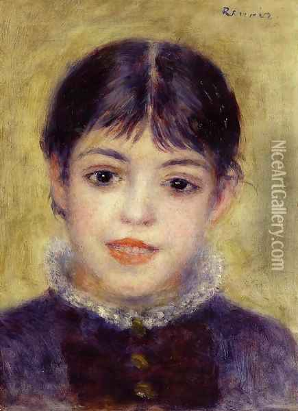 Smiling Young Girl Oil Painting - Pierre Auguste Renoir