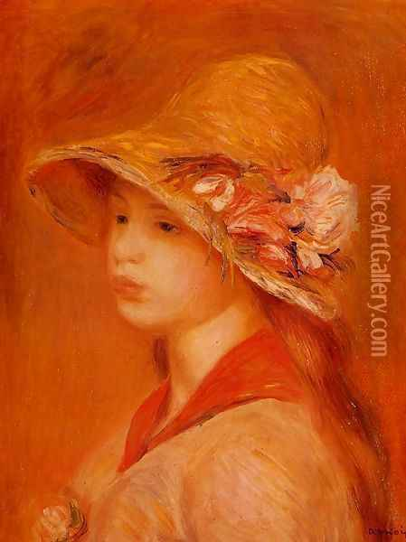Portrait Of A Young Girl3 Oil Painting - Pierre Auguste Renoir