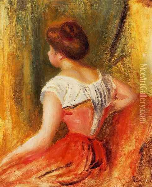 Seated Young Woman2 Oil Painting - Pierre Auguste Renoir