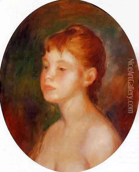 Study Of A Young Girl Aka Mademoiselle Murer Oil Painting - Pierre Auguste Renoir